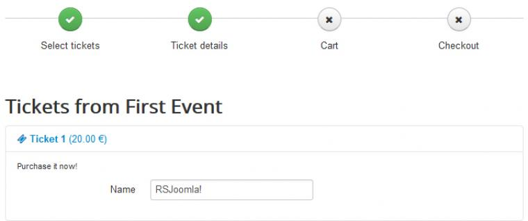 RSEvents!Pro shopping cart - Ticket details