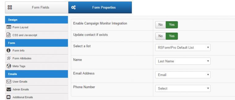RSForm!Pro Campaign Monitor Plugin configuration page