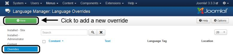 Overrides - Click on New