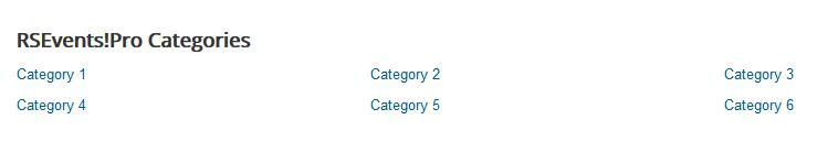 RSEvents!Pro Categories Module - Display columns