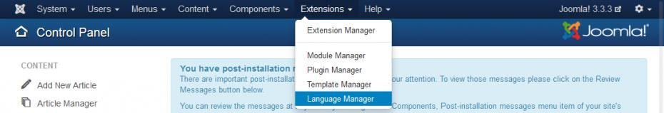 Extensions - Language Manager