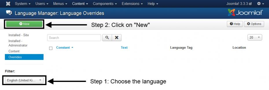 Language Overrides - Select language and click on New