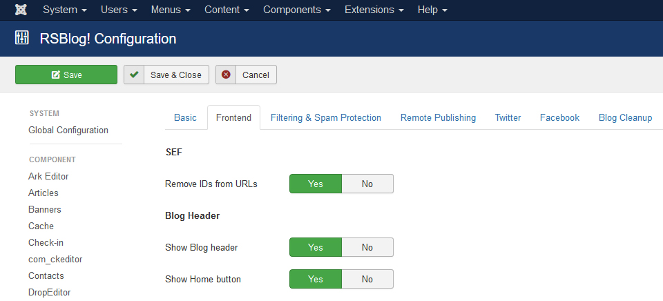 RSBlog! - Configuration