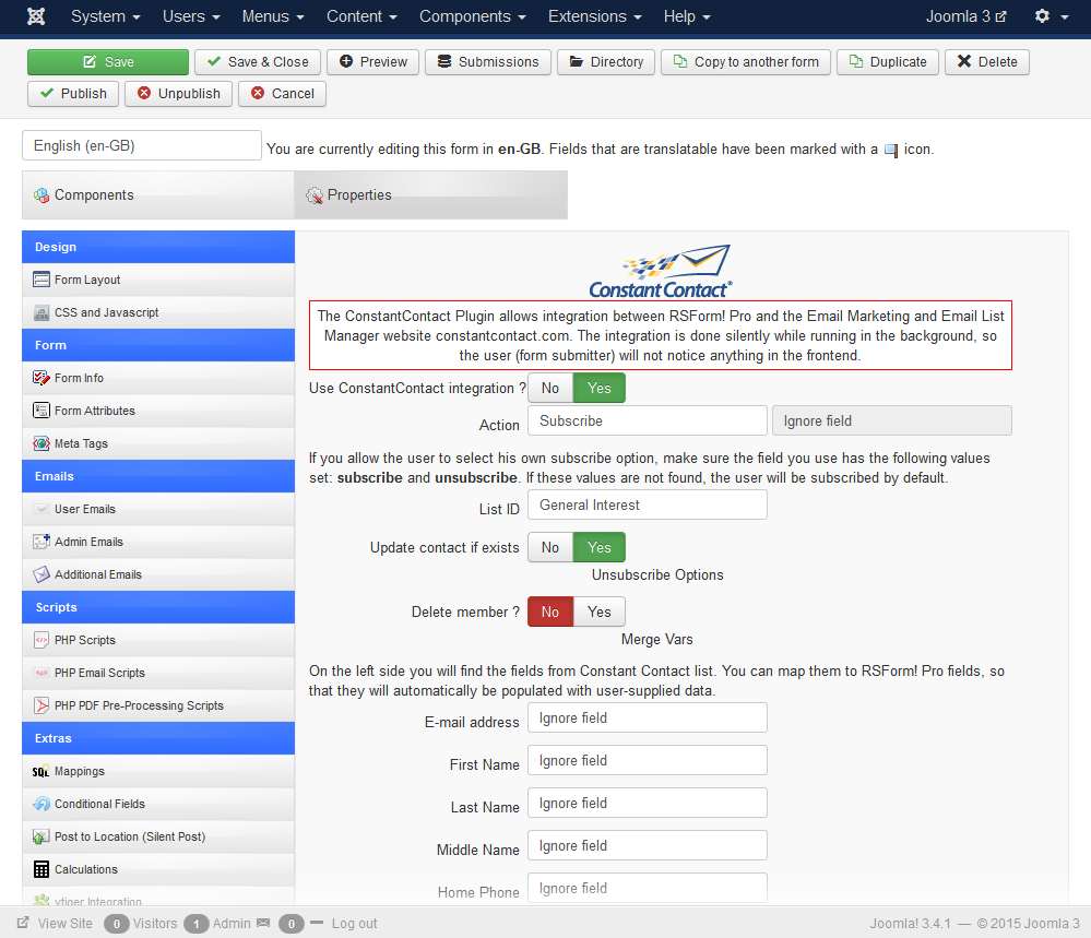 rsform pro constant contact constant contact backend