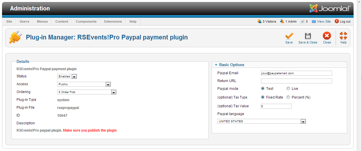 RSEvents!Pro - PayPal Payment Plugin
