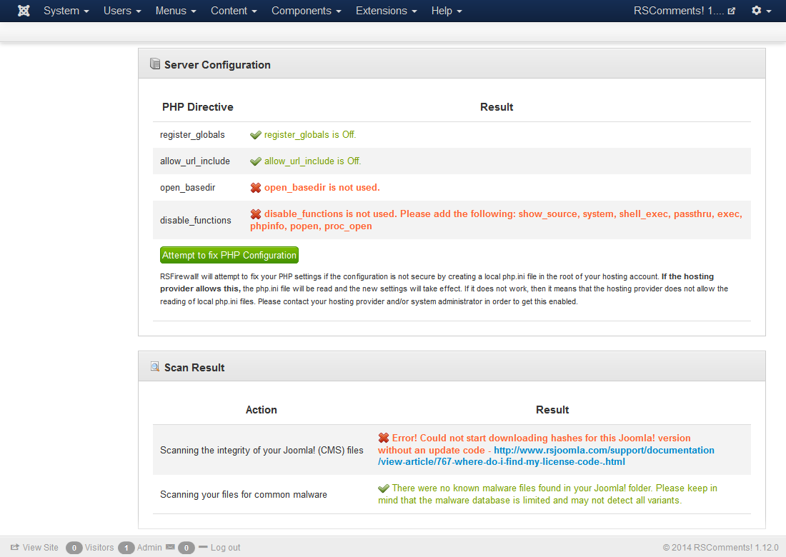 System Check - Security Scanner for Joomla!