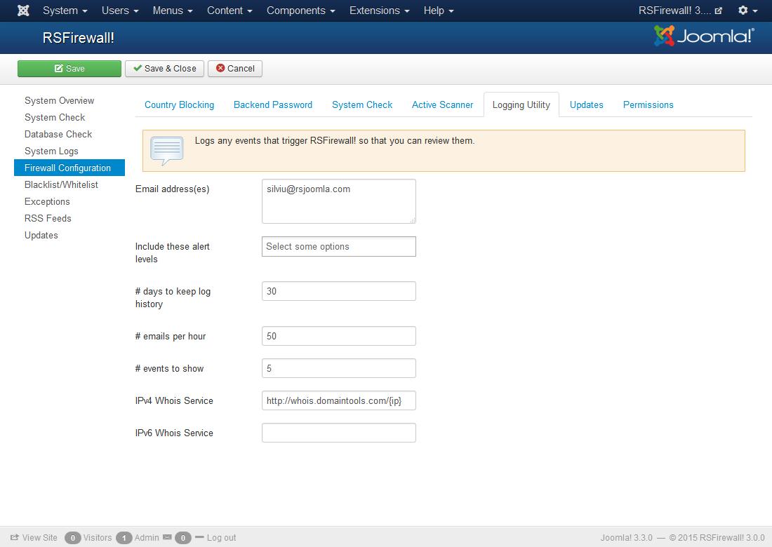 RSFirewall Configuration