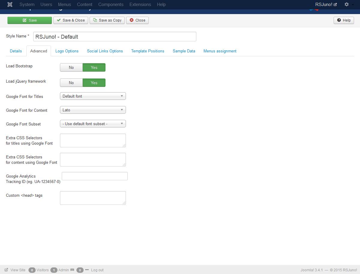 Rsjuno using the template advanced options maxwellsz