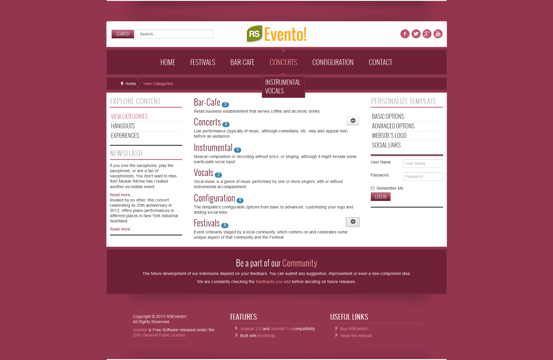 rsevento joomla 2 5 and 3 x responsive template released