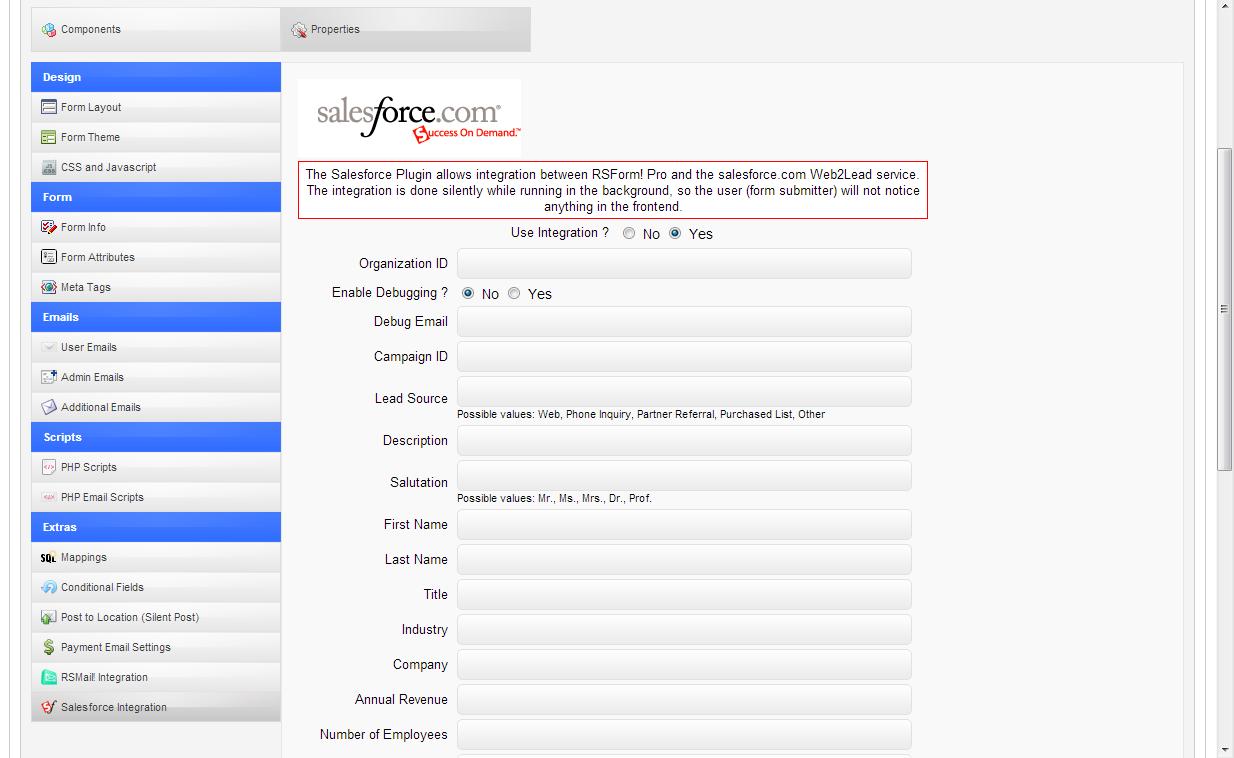 RSForm!Pro - Salesforce Web2Lead