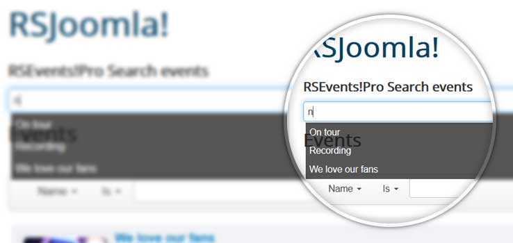 Search events module