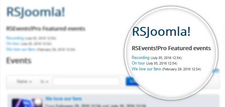 Featured events module
