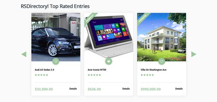 Top Rated Entries module