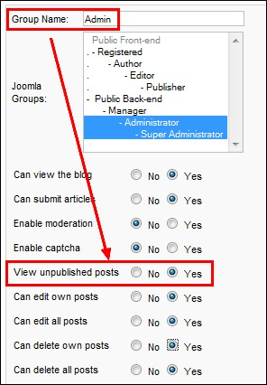 RSBlog! - view unpublished posts from the Joomla! back-end panel