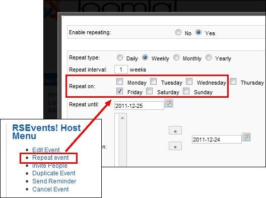 RSEvents! - set repeating events in frontend