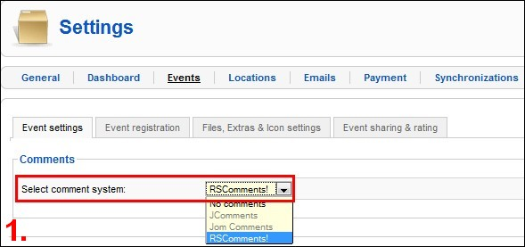 RSEvents! settings tab - enable comments