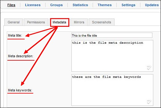 Add to Joomla! files meta title, keywords and description