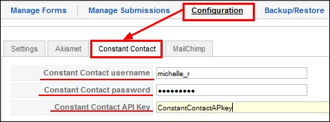RSForm!Pro Constant Contact Plugin configuration