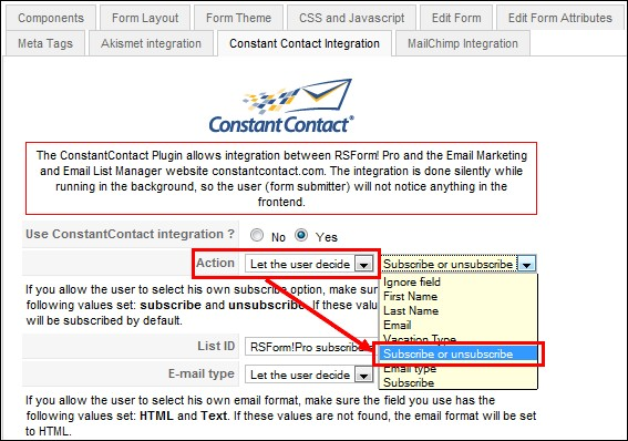 configure the RSForm!Pro Constant Contact Plugin