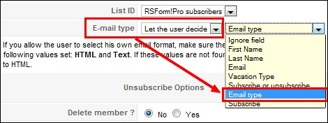RSForm!Pro Constnt Contact email plugin