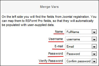mapping the custom Joomla! registration form fields