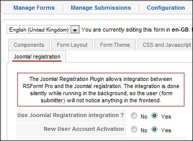 RSForm!Pro Joomla! registration - back-end area