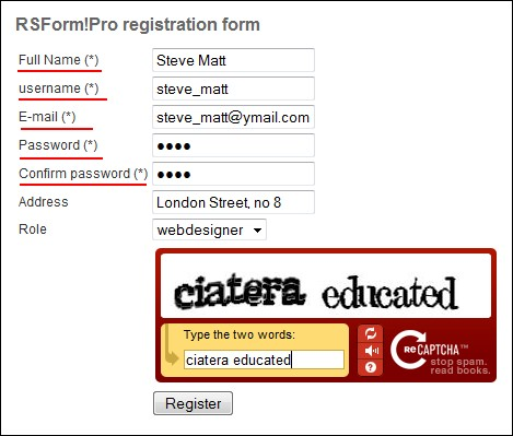 Joomla! registration form created with RSForm!Pro