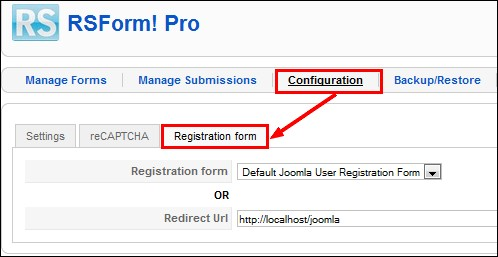 Configure the RSForm!Pro Joomla! registration plugin