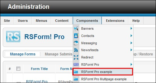 RSForm!Pro backend menu items