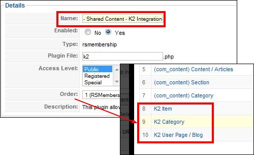 RSMembership! plugin for restricting K2 content