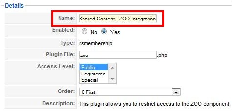 RSMembership! plugin for restricting ZOO items, categories and application