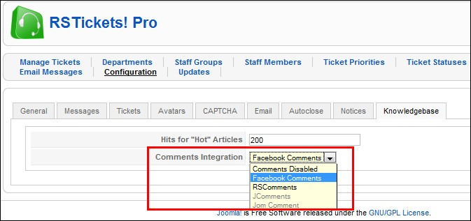 RSTickets!Pro - knowledgebase integration with Facebook, RSComments, JComments, JomComment
