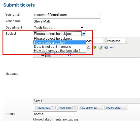 RSTickets!Pro - predefined ticket subjects