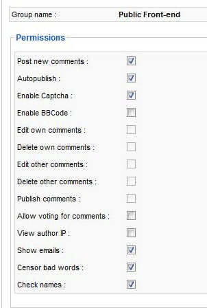 RSComments! user groups settings - Joomla! backend view