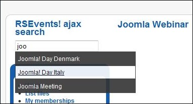 RSEvents! Ajax Search Module - Joomla! frontend panel
