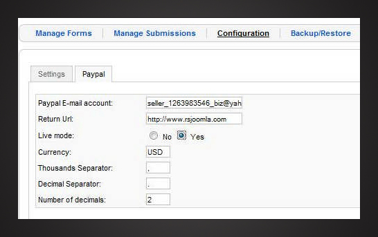 RSForm!Pro PayPal plugin Configuration