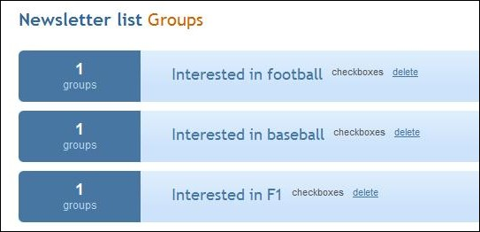 Mailchimp interest groups