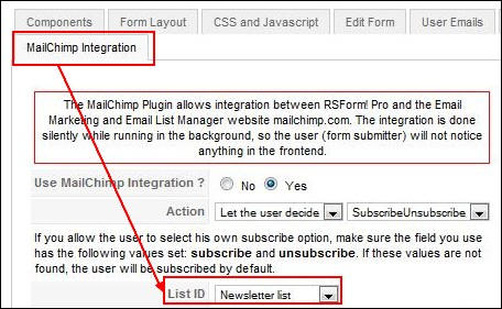 RSForm!Pro Mailchimp integration tab