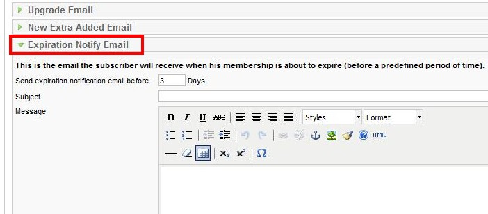 Notification email sent when his membership is about to expire