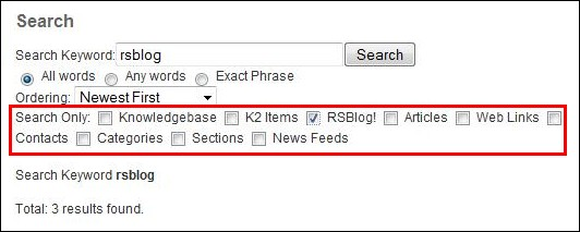 RSBlog! - integration with the Joomla! search plugin