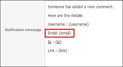 RSComments! email placeholder in the notification email