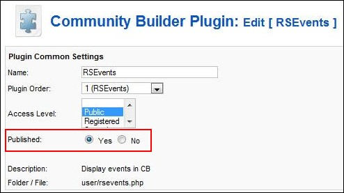 Publish the RSEvents! Community Builder plugin