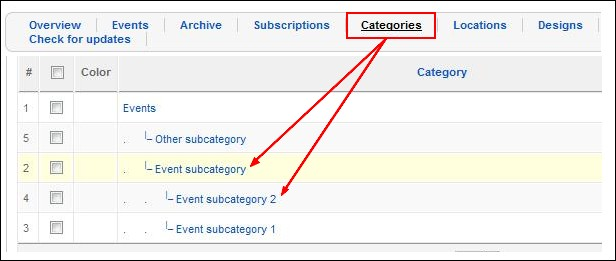RSEvents! - Subcategory view backend
