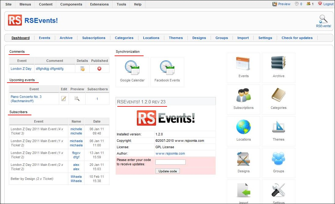 RSEvents! customizable dashboard
