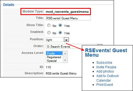 RSEvents! host and guest menu modules
