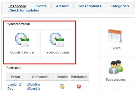 RSEvents! integration with Google calendar and Facebook events