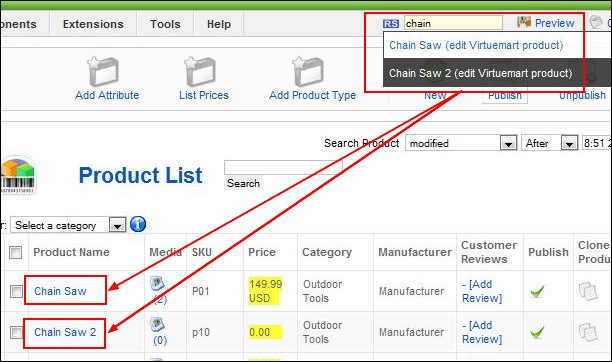 Search Virtuemart items in the backend Joomla! panel