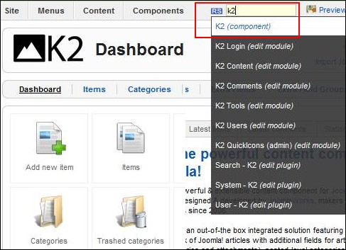 Search K2 items in the backend Joomla! panel