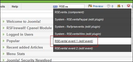 Search RSEvents! events in the backend Joomla! panel