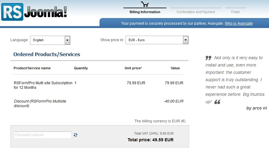 RSJoomla! Shopping cart with multi-site upgrade option
